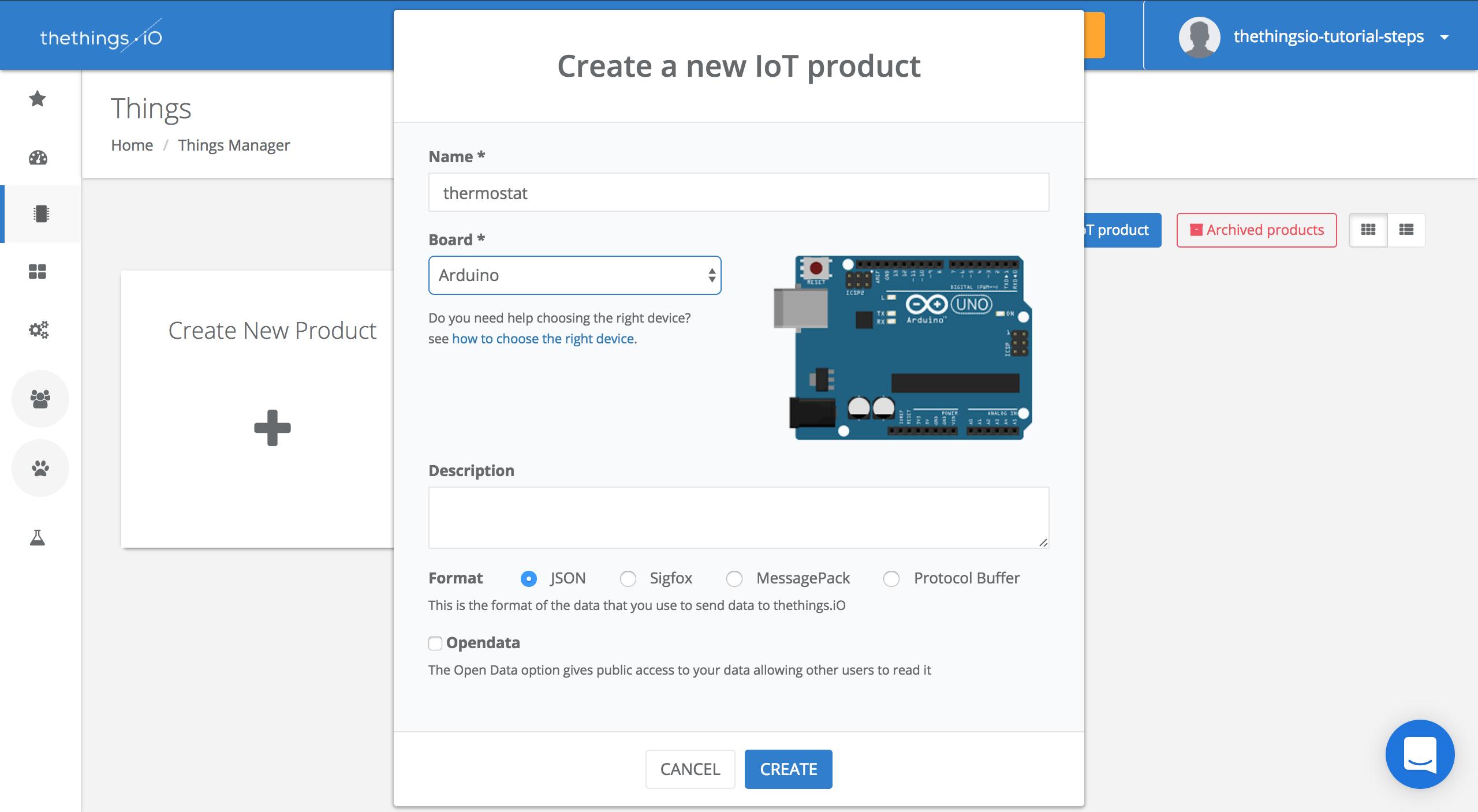 thethings.iO create Arduino product