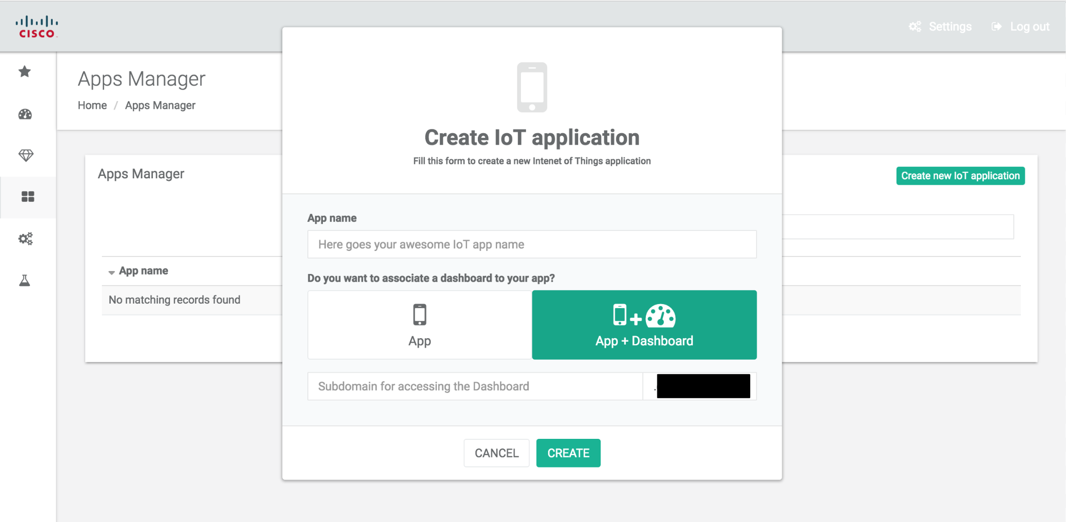 Create an App and IoT dashboard with thethings.iO