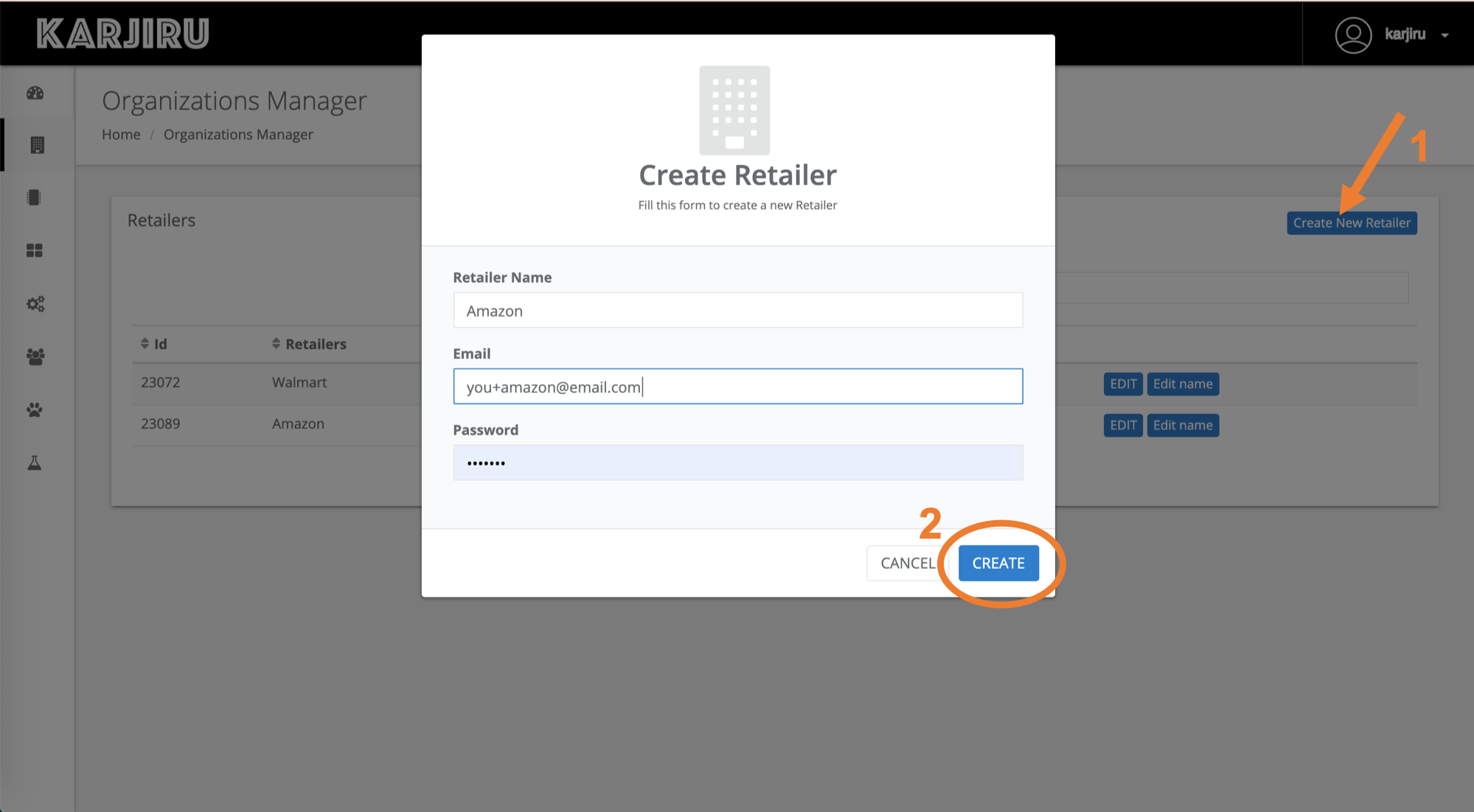 - createNewRetailer 1 - How to set up thethings.iO Blinders for your retailers